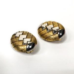 OSCAR DE LA RENTA Vtg Gold & Silver Tone Earrings